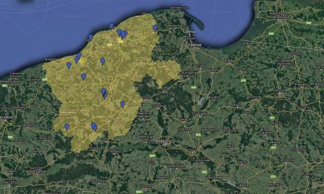 Mapa podstref Słupskiej SSE