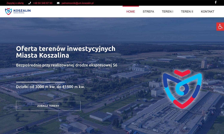www.inwestinkoszalin.pl Przykładowy landing page Miasta Koszalina dedykowany terenom inwestycyjnym na sprzedaz, wyprodukowany na potrzebykampani reklamowej online