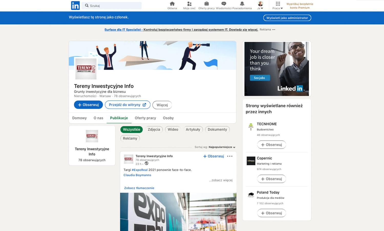 Przykładowy profil firmowy na Linkedin