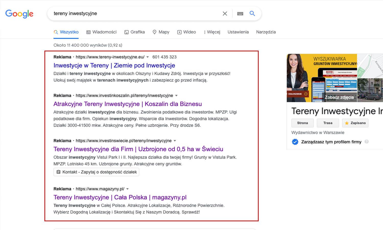 Tak wyglądają przykładowe reklamy diałek inwestycyjnych w wyszukiwarce Google